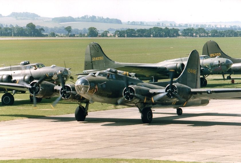 Colour Photograph 4 B-17 Bombers Taxiing
