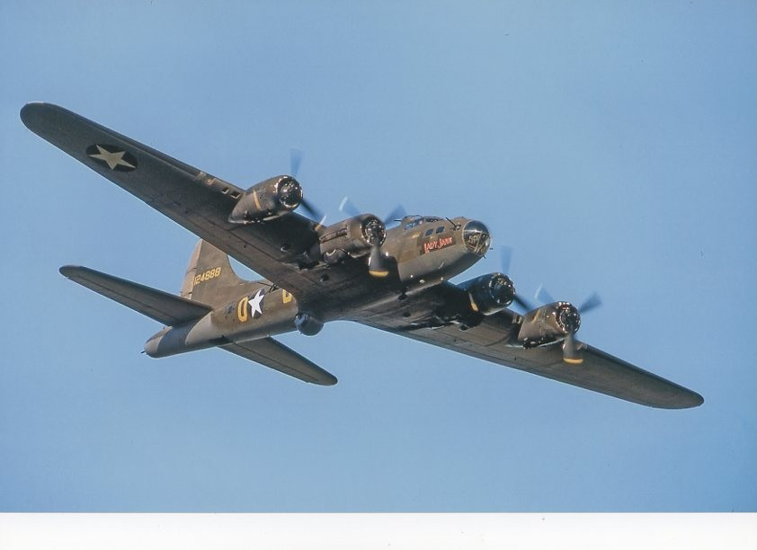 Colour Photograph B17 Lady Jane in flight