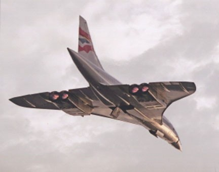 Colour Photograph Of Concorde G-BOAC Take Off With Re-heats Lit