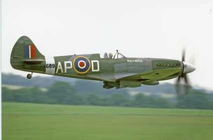 Colour photograph of Rolls Royce's Spitfire MK XIV RM 689