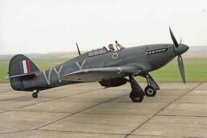 Colour Photograph of a Hawker Hurricane Taxiing