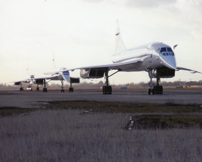 Colour Photograph Of 3 Concordes taxiing after Final Commercial Landings