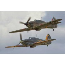 Colour Photograph of 2  Hawker Huricanes flying in formation