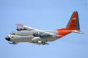 Colour Photograph of C130 Hercules USN LC-130F 148319 in flight