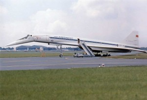 "Colour photograph TU-144S ""004"" CCCP-77102 at 1973  Paris Air Show at Le Bourget Airport."