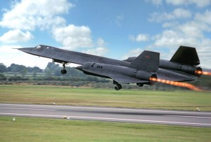 Colour Photograph of Lockheed Martin Blackbird SR71a Takeing of at Fairford